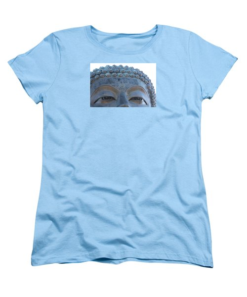 Buddha Eyes, Ngong Ping Village, Hong Kong Women's T-Shirt (Standard Cut) by Jennifer Mazzucco