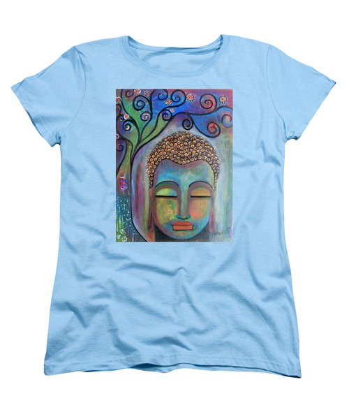 Women's T-Shirt (Standard Cut) featuring the painting Buddha With Tree Of Life by Prerna Poojara