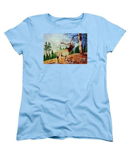 Bugling Elk Women's T-Shirt (Standard Cut) by Jimmy Smith