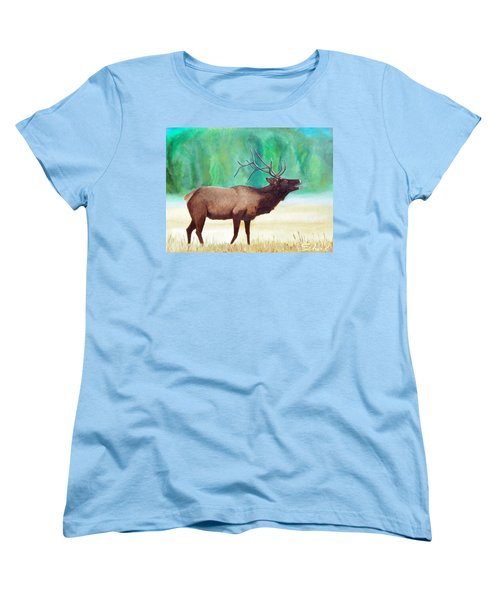 Women's T-Shirt (Standard Cut) featuring the painting Bugling Elk by Sherril Porter