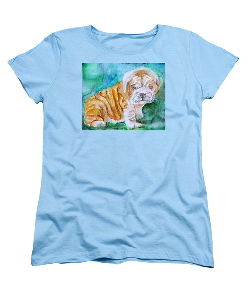 Women's T-Shirt (Standard Cut) featuring the painting Bulldog Cub  - Watercolor Portrait by Fabrizio Cassetta