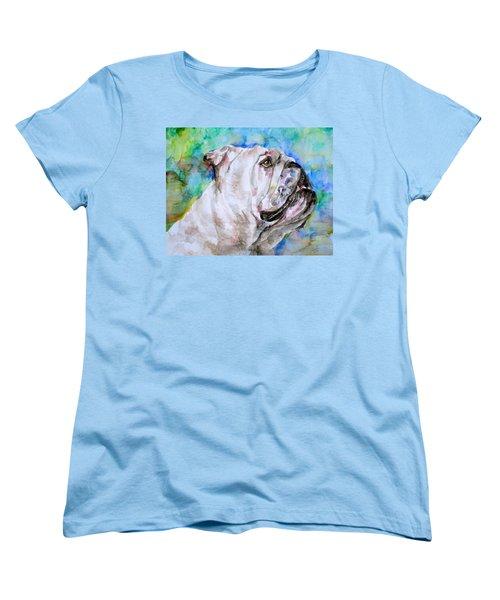 Women's T-Shirt (Standard Cut) featuring the painting Bulldog - Watercolor Portrait.4 by Fabrizio Cassetta