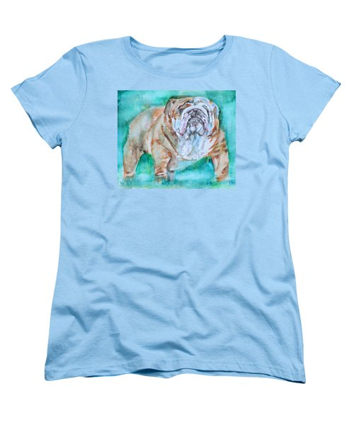 Women's T-Shirt (Standard Cut) featuring the painting Bulldog - Watercolor Portrait.6 by Fabrizio Cassetta