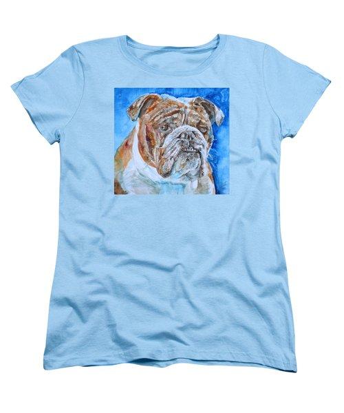 Women's T-Shirt (Standard Cut) featuring the painting Bulldog - Watercolor Portrait.8 by Fabrizio Cassetta