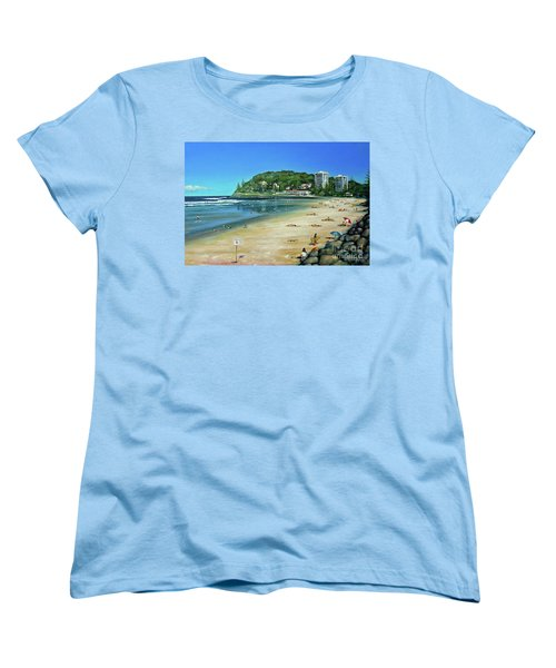 Women's T-Shirt (Standard Cut) featuring the painting Burleigh Beach 100910 by Selena Boron