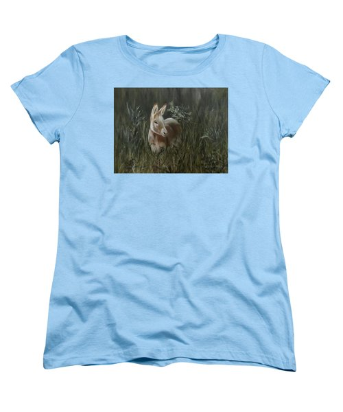 Women's T-Shirt (Standard Cut) featuring the painting Burro In The Wild by Roseann Gilmore