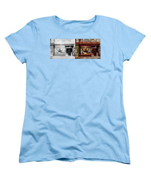 Women's T-Shirt (Standard Cut) featuring the photograph Butcher - Meat Priced Right 1916 - Side By Side by Mike Savad