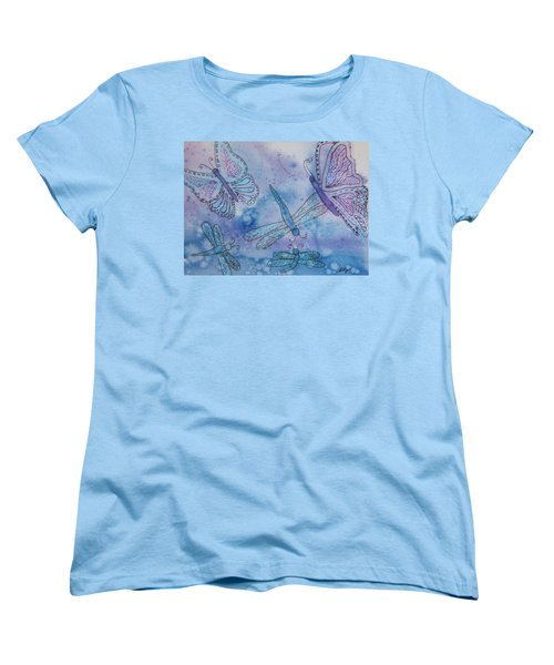 Women's T-Shirt (Standard Cut) featuring the painting Butterflies And Dragonflies by Ellen Levinson