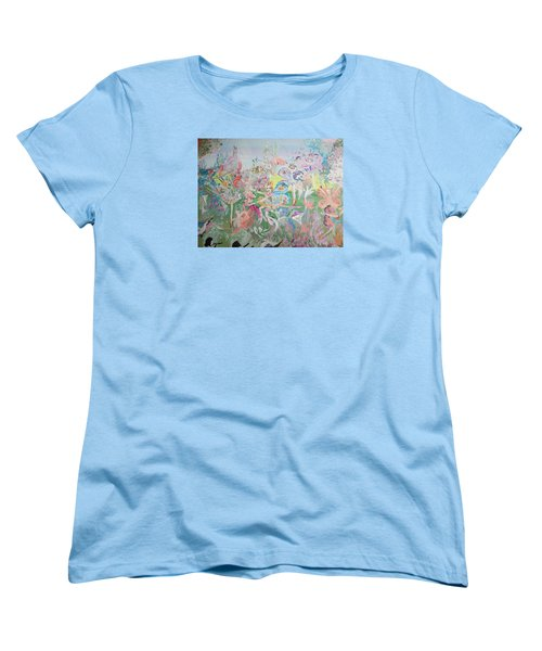 Women's T-Shirt (Standard Cut) featuring the painting Butterfly Ballet Reflectance by Judith Desrosiers