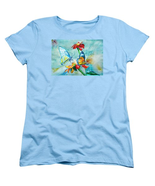 Women's T-Shirt (Standard Cut) featuring the painting Butterfly Dance by Jasna Dragun