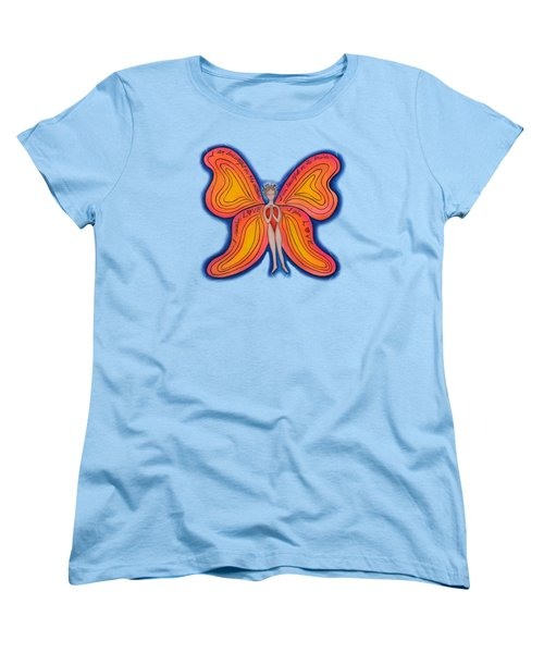 Women's T-Shirt (Standard Cut) featuring the painting Butterfly Mantra by Deborha Kerr