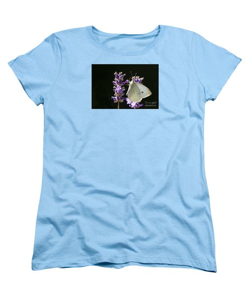 Women's T-Shirt (Standard Cut) featuring the photograph Cabbage White Butterfly On Lavender by Inge Riis McDonald