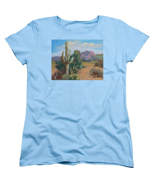 Women's T-Shirt (Standard Cut) featuring the painting Cactus By The Red Mountains by Diane McClary