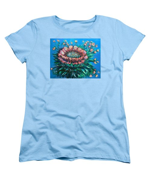 Women's T-Shirt (Standard Cut) featuring the painting Cactus Flowers by Laila Awad Jamaleldin
