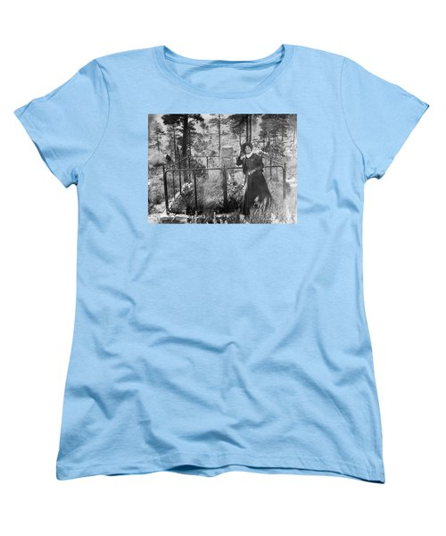 Women's T-Shirt (Standard Cut) featuring the photograph Calamity Jane At Wild Bill Hickok's Grave 1903 by Daniel Hagerman