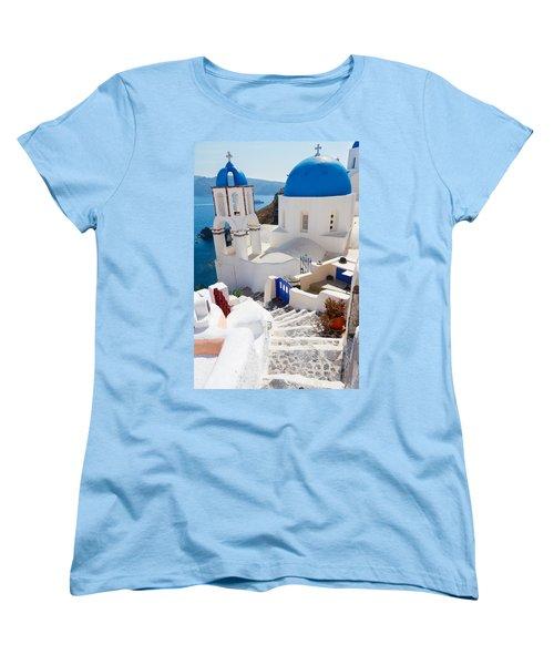 Caldera With Stairs And Church At Santorini Women's T-Shirt (Standard Cut) by Anastasy Yarmolovich