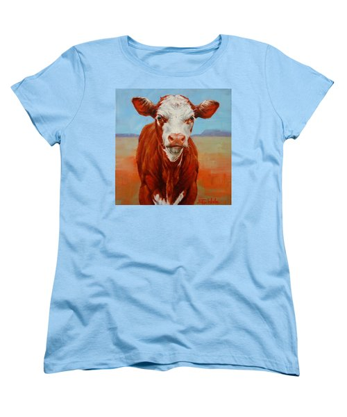Women's T-Shirt (Standard Cut) featuring the painting Calf Stare by Margaret Stockdale