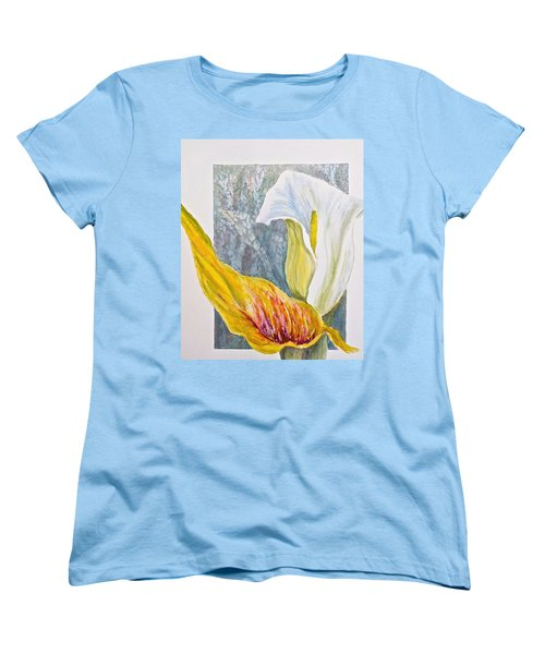 Women's T-Shirt (Standard Cut) featuring the painting Calla Lily by Carolyn Rosenberger