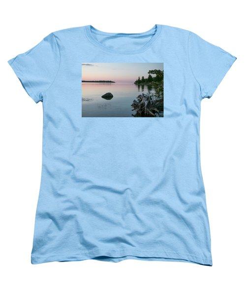 Calm Water At Lake Huron Crystal Point Women's T-Shirt (Standard Cut) by Kelly Hazel
