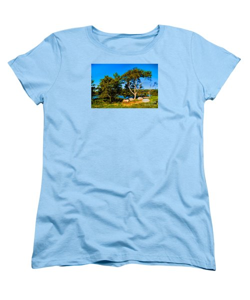 Women's T-Shirt (Standard Cut) featuring the photograph Campfire Lake by Rick Bragan
