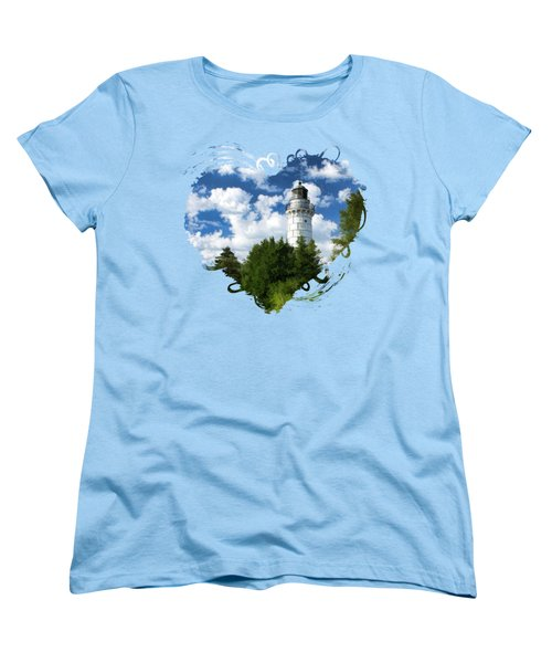 Cana Island Lighthouse Cloudscape In Door County Women's T-Shirt (Standard Cut) by Christopher Arndt