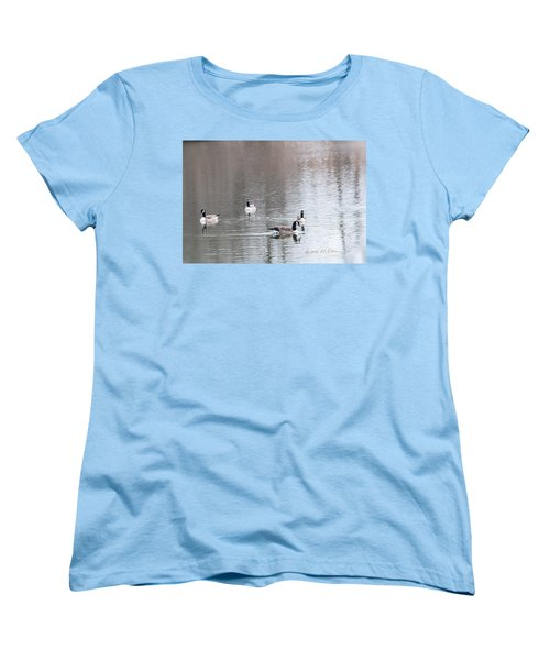 Women's T-Shirt (Standard Cut) featuring the photograph Canada Geese Swing by Edward Peterson