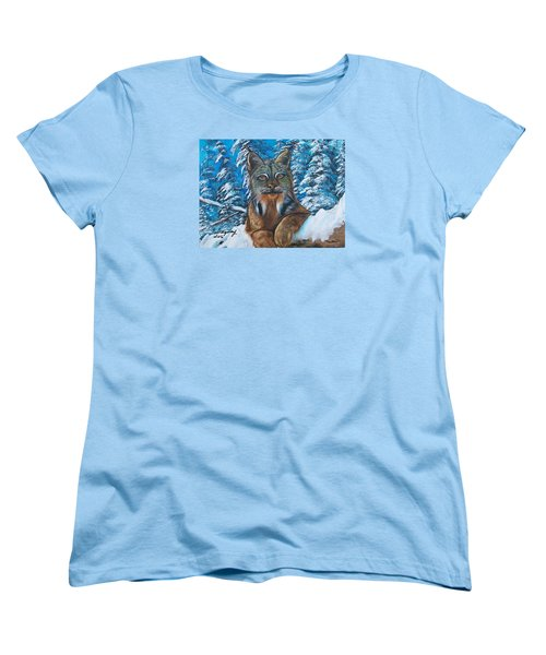 Women's T-Shirt (Standard Cut) featuring the painting Canadian Lynx by Sharon Duguay