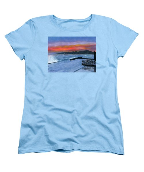 Women's T-Shirt (Standard Cut) featuring the painting Candidasa Sunset Bali Indonesia by Melly Terpening