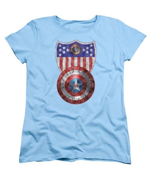 Captain America Shields On Gold  Women's T-Shirt (Standard Cut) by Georgeta Blanaru