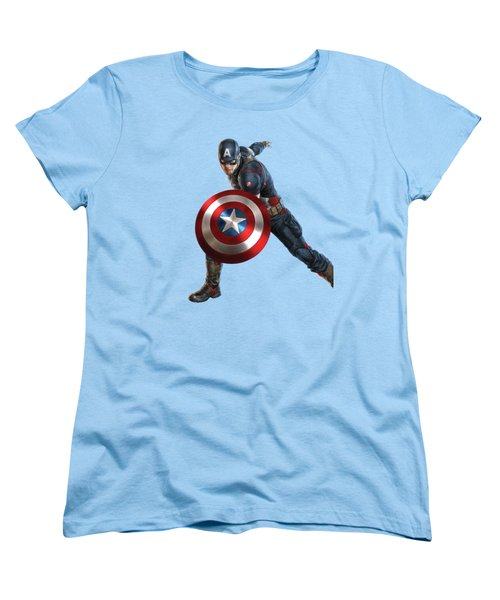 Women's T-Shirt (Standard Cut) featuring the mixed media Captain America Splash Super Hero Series by Movie Poster Prints