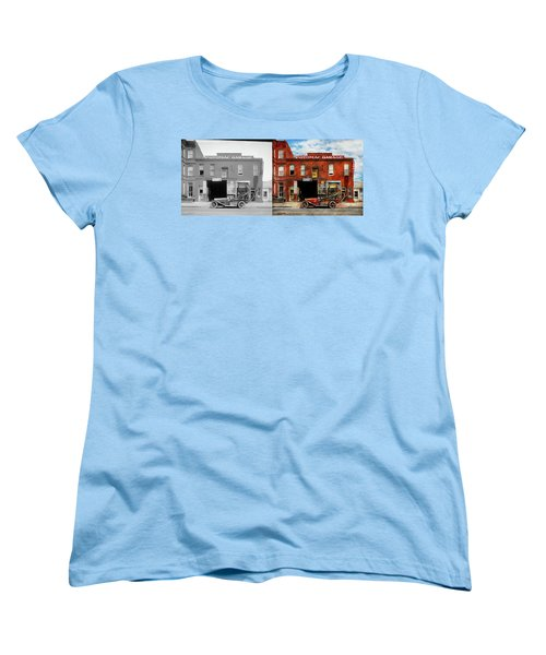 Women's T-Shirt (Standard Cut) featuring the photograph Car - Garage - Misfit Garage 1922 - Side By Side by Mike Savad
