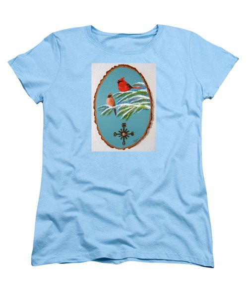 Women's T-Shirt (Standard Cut) featuring the painting Cardinal Clock by Al  Johannessen