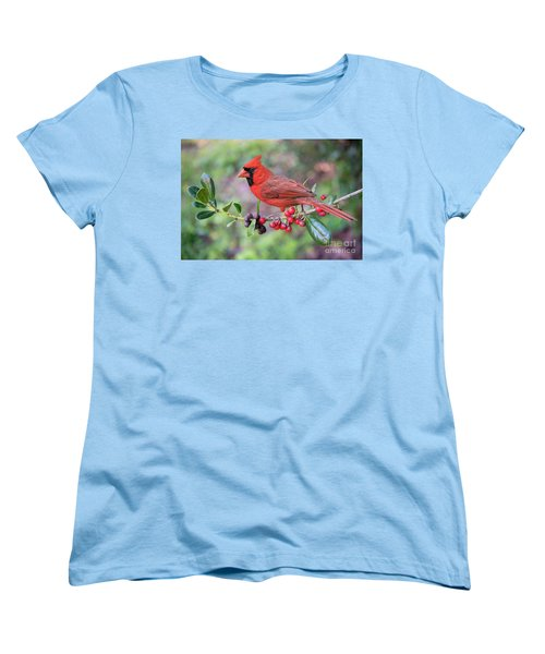 Cardinal On Holly Branch Women's T-Shirt (Standard Cut) by Bonnie Barry