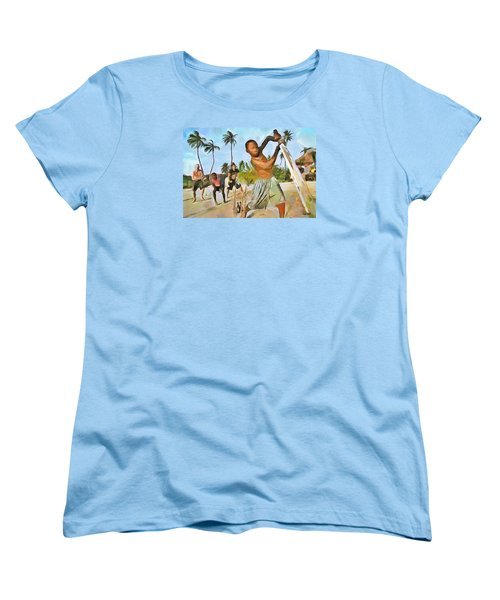 Women's T-Shirt (Standard Cut) featuring the painting Caribbean Scenes - Cricket On De Beach by Wayne Pascall