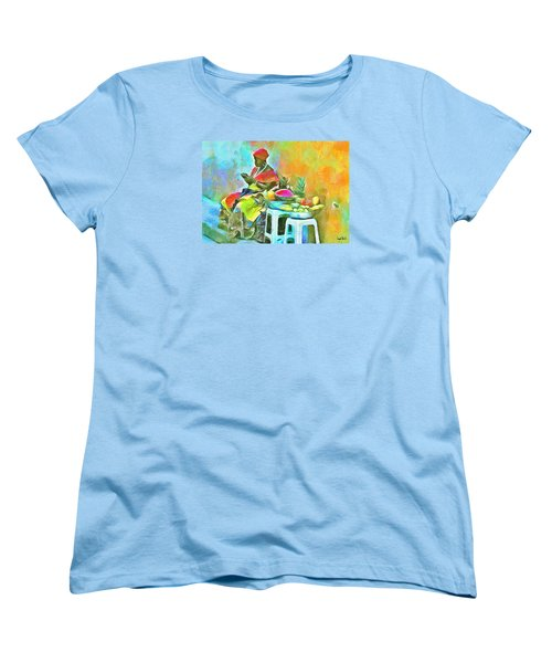 Caribbean Scenes - De Fruit Lady Women's T-Shirt (Standard Cut) by Wayne Pascall
