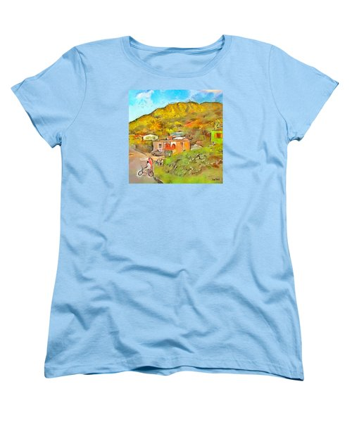 Women's T-Shirt (Standard Cut) featuring the painting Caribbean Scenes - De Village by Wayne Pascall