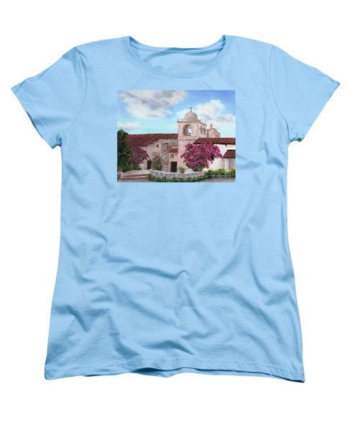 Carmel Mission In Spring Women's T-Shirt (Standard Cut) by Laura Iverson
