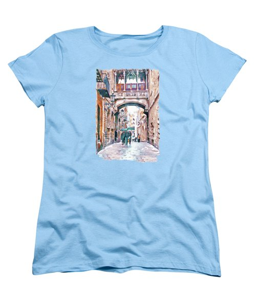 Carrer Del Bisbe - Barcelona Women's T-Shirt (Standard Cut) by Marian Voicu