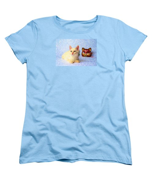 Cat Mask Women's T-Shirt (Standard Cut) by Andre Faubert