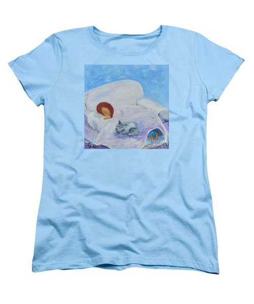 Women's T-Shirt (Standard Cut) featuring the painting Cat Nap  by Reina Resto