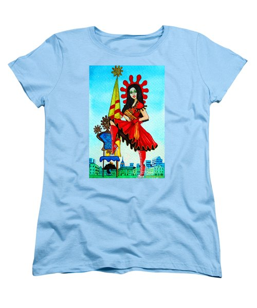 Women's T-Shirt (Standard Cut) featuring the painting Catalan Girl In Converse by Don Pedro De Gracia