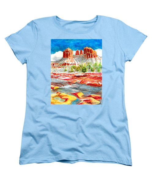 Women's T-Shirt (Standard Cut) featuring the painting Cathedral Rock Crossing by Eric Samuelson