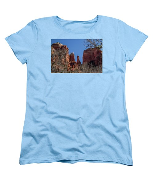 Women's T-Shirt (Standard Cut) featuring the photograph Cathedral Rock View by Roger Mullenhour
