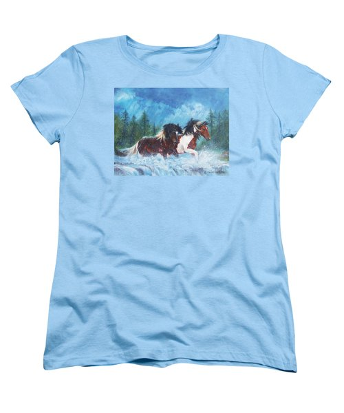 Women's T-Shirt (Standard Cut) featuring the painting Caught In The Rain  by Karen Kennedy Chatham