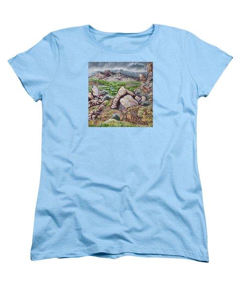 Women's T-Shirt (Standard Cut) featuring the painting Cedar Breaks View With Mule Deer by Dawn Senior-Trask