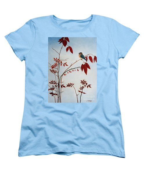 Cedar Waxwing Women's T-Shirt (Standard Cut) by Laura Tasheiko
