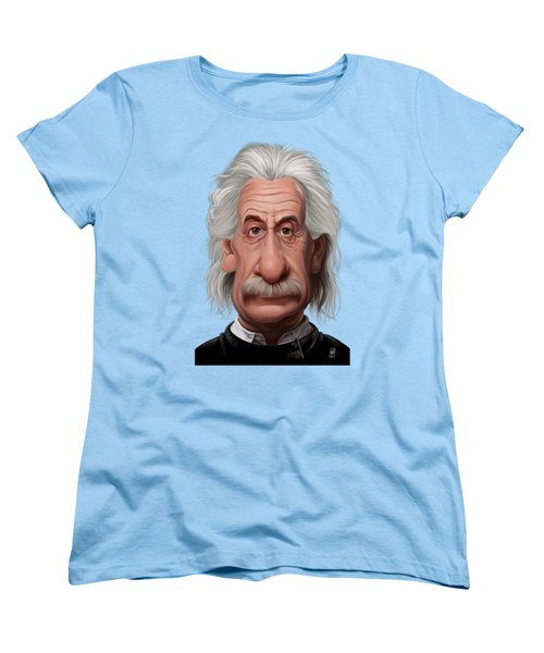 Women's T-Shirt (Standard Cut) featuring the drawing Celebrity Sunday - Albert Einstein by Rob Snow