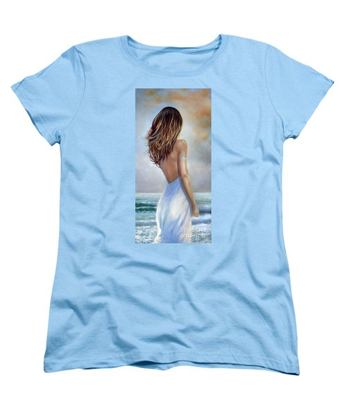 A Walk On The Beach Women's T-Shirt (Standard Cut) by Michael Rock