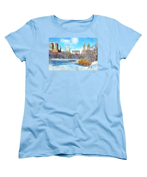 Central Park In Winter Women's T-Shirt (Standard Cut) by Kai Saarto