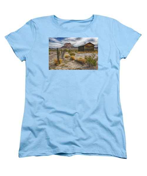Women's T-Shirt (Standard Cut) featuring the tapestry - textile Cerro Castellan - Big Bend - Color by Kathy Adams Clark